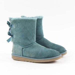 Ugg Bailey Bow II Blue Suede Sheepskin Short Boots